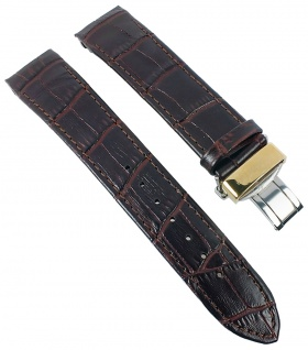 Citizen World Time | Uhrenarmband Ersatzband Leder Band dunkelbraun mit Krokoprägung 20mm für BJ9123-01A