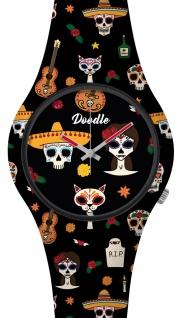 DOODLE WATCH Armbanduhr für SIE& IHN Ø 39mm Silikon Mexikanische Tatoos DOSK005