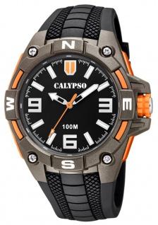 Calypso Herrenarmbanduhr Quarzuhr aus Kunststoff mit Silikonband Leuchtzeiger grau/orange K5761/4