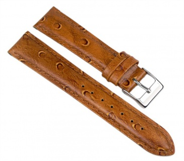 Minott Uhrenarmband Leder Band Straußenleder Optik Orangebraun 18mm 890370700118