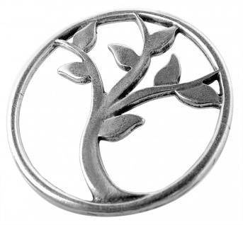Minott Schmuck Anhänger Baum-Medallion aus Messing, versilbert im Used Look 35143