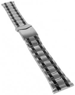 Minott Uhrenarmband Massiv Edelstahl silbern/schwarz mattiert/glänzend 31172S
