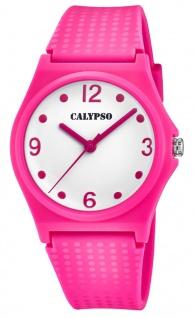 Calypso Damenarmbanduhr Quarzuhr Analoguhr Kunststoffuhr pink mit sehr weichem Silikonband K5743/4