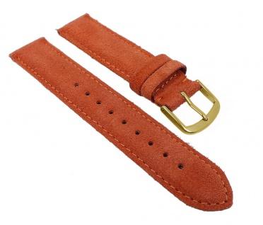 Herzog Uhrenarmband Sylt Veloursleder Band Orange 26771G