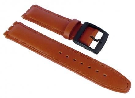 Minott Uhrenarmband Leder Band Braun 17mm passend zu Swatch Uhren