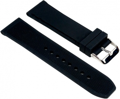 Minott Uhrenarmband Silikon Band schwarz glatt 25541S