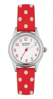 Adora Young Line   analoge Quarz Armbanduhr für Mädchen   PU-Band rot / weiße dots   36171