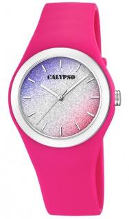 Calypso Damenuhr analog pink Kunststoff Armbanduhr Uhr PU-Band Quarzuhr K5754/5 K5754