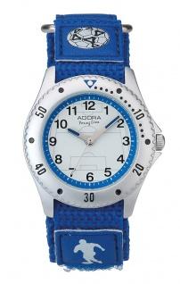 Adora Young Line   analoge Quarz Armbanduhr für Jungen   Klettband blau - Fußballmotiv   36177