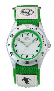 Adora Young Line   analoge Quarz Armbanduhr für Jungen   Klettband grün/weiß - Fußballmotiv   36182