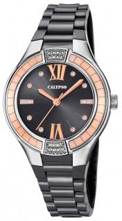 Calypso   Damenarmbanduhr Quarzuhr Kunststoffuhr mit Kunststoffband grau analog K5720/4