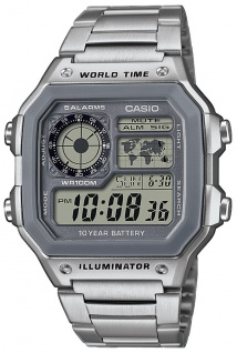 Casio Collection Armbanduhr 4 Zeitzonen-Anzeige LED Light AE-1200WHD-7AVEF