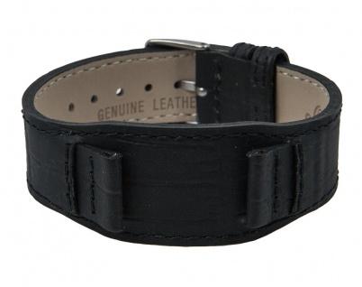 Uhrenarmband Leder Band Unterlageband 14mm schwarz in Kroko-Optik passend zu s.Oliver SO-1117-LQ - Vorschau 2