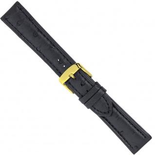 Uhrenarmband Ersatzband Leder Band Schwarz 26569G