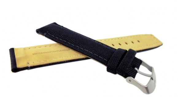 Timex Expedition Ersatzband Uhrenarmband Textil-Leder Band schwarz mit Naht 22mm für T49863 - Vorschau 2