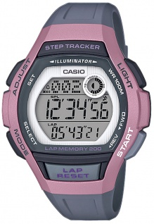 Casio Collection Kinderuhr grau/rosa Displaybeleuchtung Resin LWS-2000H-4AVEF