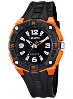 Calypso Armbanduhr Herrenuhr Analoguhr schwarz/Orange mit Beleuchtung 10 ATM K5634/2