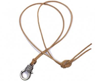 Minott Kette braunes Lederband zum verknoten mit Karabinerhaken Anhänger 21504