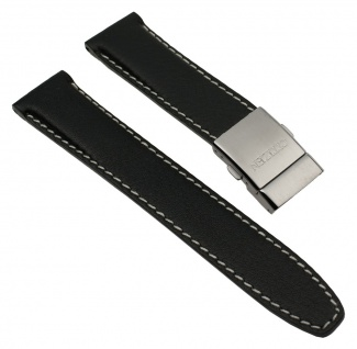 Citizen Ersatzband Leder Band Schwarz mit Kontrastnaht 22mm für BJ7010-16F