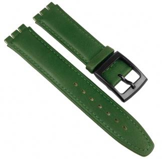 Minott Uhrenarmband Leder Band Gruen 17mm passend zu Swatch Uhren