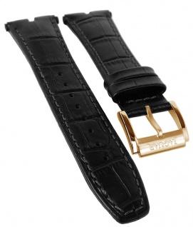 Jaguar Executive Chronograph Uhrenarmband Leder Band schwarz Kroko-Optik Naht J859/1 J859
