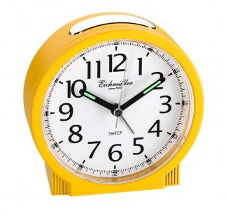 Wecker Reisewecker Alarm Analog Snooze Kunststoff gelb rund mit schleichende Sekunde