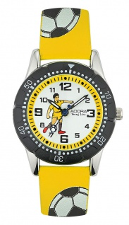 Adora Young Line   analoge Quarz Armbanduhr für Jungen   PU-Band gelb - Fußballmotiv   36175