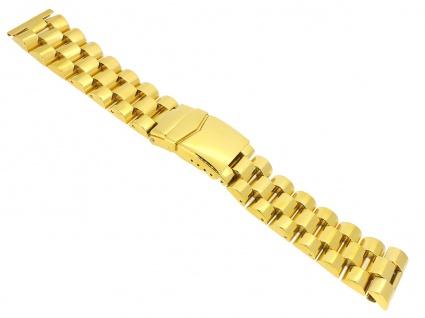 Minott Uhrenarmband Edelstahl Band - Massiv mit Sicherheitsfaltschließe Gelbgoldfarben 24318