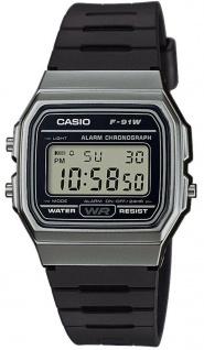 Casio Collection F-91WM-1BEF digital Uhr mit Automatischer Kalender / Resinband schwarz