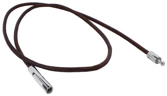 Schmuck Leder Collier - Halsschmuck mit Edelstahl-Klickverschluss in braun - Ø 2mm 30635