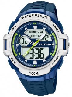 Calypso Digital Armbanduhr PU-Band blau Kunststoff Quarzwerk Analog Digitaluhr K5770/3 K5770
