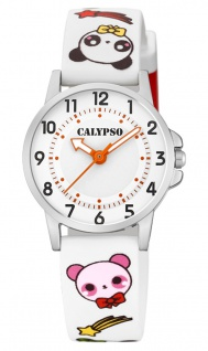 Calypso Kinderuhr analog weiß Armbanduhr Uhr Kunstoffband Quarzuhr M6230 bunte Motive K5775/1 K5775