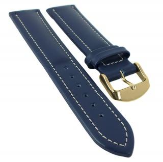 Chrono Nabucco XL Ersatzband Lederband mit Kontrastnaht - Kalbsleder blau 29933