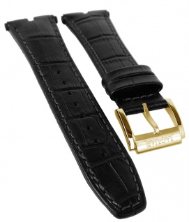 Jaguar Executive Chronograph Uhrenarmband Leder Band schwarz Kroko-Optik Naht J858 J858/1