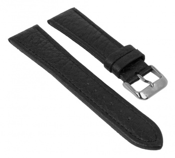 Uhrenarmband   aus Büffelkalbsleder / grob genarbt   schwarz mit Naht   35078