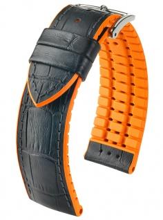 HIRSCH Performance | Uhrenarmband aus Leder/Kautschuk schwarz/orange Allogatorprägung 30961S