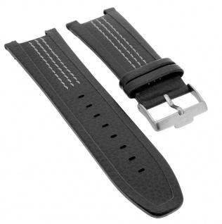 Jacques Lemans Chronograph Ersatzband Anti- Allergic Leder in schwarz mit Kontrastnaht 1-1455B