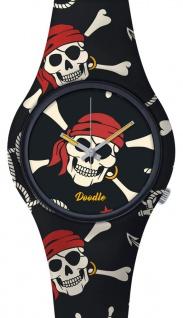 DOODLE WATCH Armbanduhr für SIE& IHN Ø 39mm Silikon Piraten-Totenkopf > DOSK004