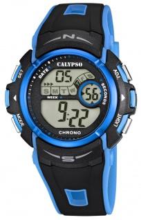 Calypso Herren Quarzuhr Kunststoff Stoppfunktion Timer schwarz/blau K5610/6