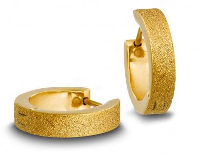 Minott Edelstahl Damen Ohrschmuck Ohrringe Creolen | gelbgoldfarben, glitzernd mit Struktur 31435