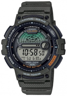 Casio Collection Digitaluhr grün Schlummerfunktion LED Light WS-1200H-3AVEF
