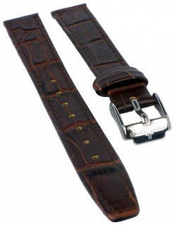 Jacques Lemans Uhrenarmband Ersatzband Leder mit Krokoprägung 14mm braun sehr dünn für JL 40-2