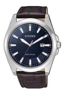 Citizen Eco Drive Herren Armbanduhr Edelstahl Lederband Datumsanzeige BM7108-22L
