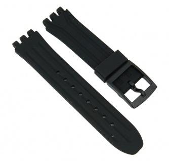 Minott Uhrenarmband Silikon Band Schwarz passend zu Swatch Uhren New Chrono 18 mm 27182