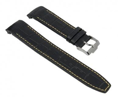 Uhrenarmband Ersatzband Leder schwarz mit gelber Naht passend zu Jacques Lemans Liverpool JL 1-1655 1-1652 1-1516