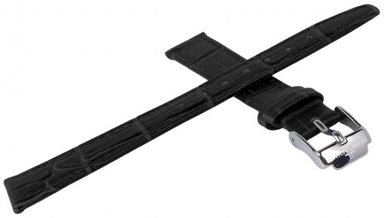 Jacques Lemans Uhrenarmband Ersatzband Leder mit Krokoprägung 14mm schwarz sehr dünn für JL 40-2 - Vorschau 2