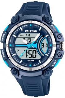 Calypso anadigi Herrenuhr   Kunststoffgehäuse & Band blau   Datum > Alarm K5779/3