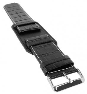 Bruno Banani Kosmos Ersatzband 34mm Leder schwarz mit weißer Naht XK3 121 301 BR20806