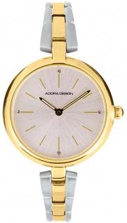 Damenuhr Armbanduhr Analoguhr Edelstahl bicolor mit Faltschließe Adora Design