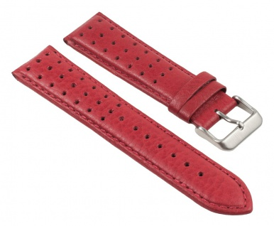 Uhrenarmband Leder Band, Rot, gelocht, atmungsaktiv 25788S